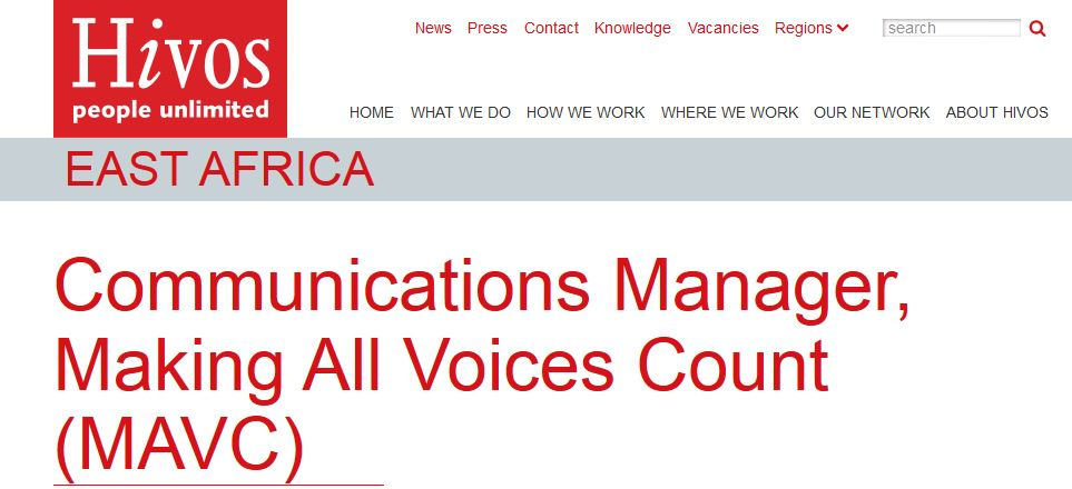 Hivos EA is hiring a Communications Manager- Deadline Oct 14, 2016