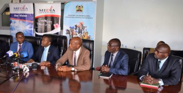 Cabinet Secretary for Ministry of Information, Communications and Technology Mr. Joe Mucheru (Second left) during a press conference on Wednesday November 2 2016 at his Teleposta Nairobi office. Looking on is Charle Kerich, Media Council of Kenya Chairman (far left), Sammy Itemere, Principal Secretary, Ministry of Information, Communications and Technology (Centre), Dr. Haron Mwangi, Media Council of Kenya CEO and Timothy Kariuki, Chairman, Complaints Commission.