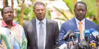 Raila Odinga (centre), Musalia Mudavadi and Kalonzo musyoka (right)
