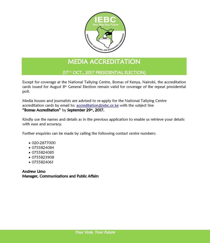 Media Accreditation Elections Kenya