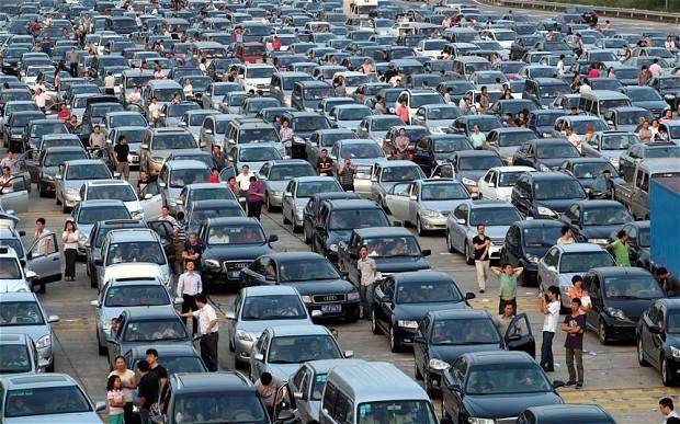 Vehicles on traffic jam
