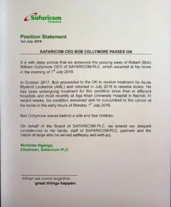 Safaricom CEO dies of cancer