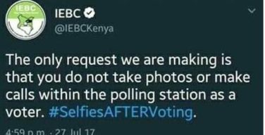No Selfies in the polling station: IEBC