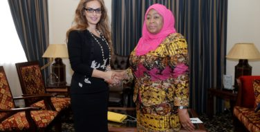 H.E. Vice President of the United Republic of Tanzania, Dr Samia Suluhu Hassan (right) and Dr Rasha Kelej, CEO of Merck Foundation (left)