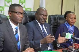 IEBC Chairman Wafula Chebukati (centre)