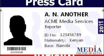 Sample of press card