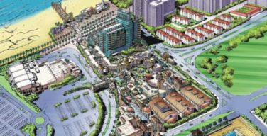 An aerial impression of what the Durban Film City on the beachfront could look like. The three domed buildings will be the studios.