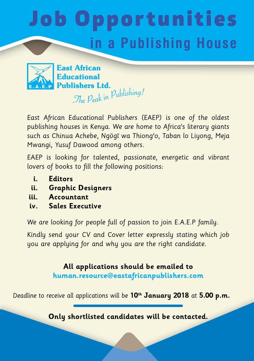 East African Educational Publishers jobs Deadline Jan 10, 2018
