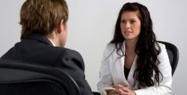 A postate of a lady in an interview