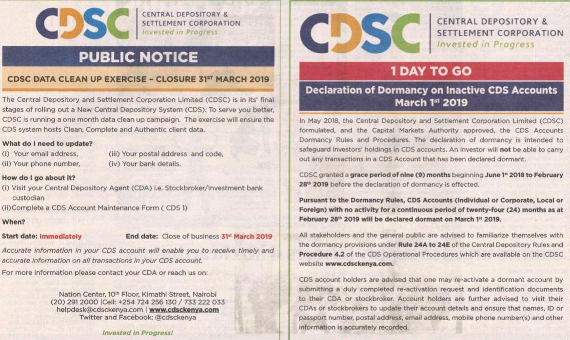 Kenya blocks dormant CDS accounts