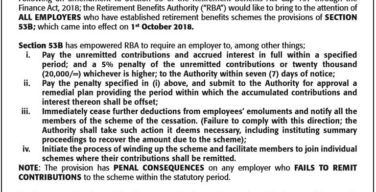 RBA warns employers on non-remittance of pension dues