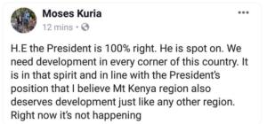 Moses Kuria response to Uhuru's Washenzi remark